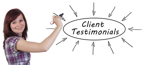 ICIWorld.com Graphic Image of a woman holding a marker in front of a white board with the worlds Client Testimonials in a though bubble